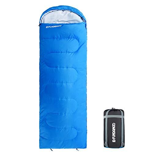 FUNDANGO Schlafsack für Erwachsene,leicht,gemütlich,Umschläge/Mumienschlafsack kompakt wasserdichtes Design Schlafsack für Camping Reisen Rucksackreisen Wandern Trekking Blue 220x75cm