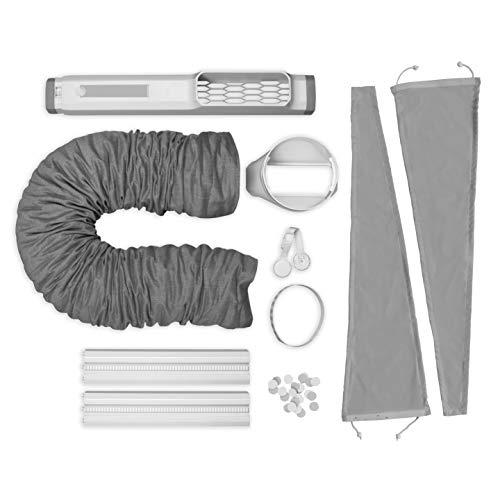 AEG AWK03 Premium Window Kit (Leicht zu installieren, Fensterabdichtungs-Set, ausziehbar, erweiterbar, Textildichtung, passend für alle portablen Klimageräte mit 15cm Schlauchdurchmesser, grau/weiß)