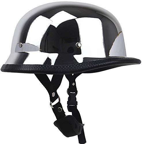 FANGJIA-Helmet Casco de Motocicleta Plateado, Gorra de Calavera de Media Concha Vintage para Hombres y Mujeres, Aprobada Dot, Casco de Medio Casco de Estilo Alemán Vintage para Scooter Cruise