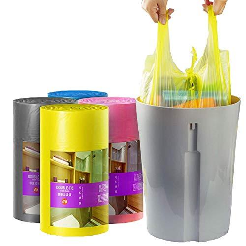 Bolsas de Basura de 4 a 6 galones Bolsas de Basura pequeñas Cubiertas de Basura para cestas de Basura Bolsas para baño Cocina Oficina Hogar Dormitorio Coche 90 Contadores / 1 Rollo Rosa
