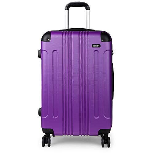 Kono 20' Carry-on Suitcase Hard Shell ABS Lightweight Travel Trolley Case with 4 Spinner Wheel Fashion Luggage for Business Holiday (20' Purple)