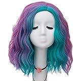 NiceLisa Mujeres niñas 16 Pulgadas Azul púrpura Arco Iris Colorido Onda rizada Moda Fiesta Cosplay Peluca