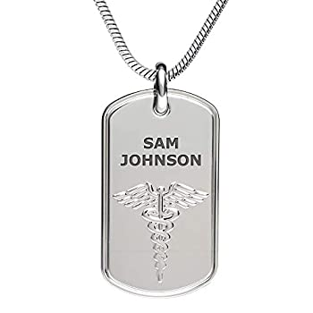 Divoti Deep Custom Laser Engraved Stainless Steel Medical Alert Necklace for Men Classic Tag Medical ID Necklace Medical Dog Tag w/Free Engraving -Snake Chain 24 in