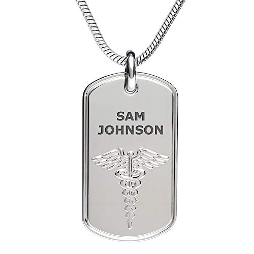 Divoti Deep Custom Laser Engraved Stainless Steel Medical Alert Necklace for Men, Classic Tag Medical ID Necklace, Medical Dog Tag w/Free Engraving -Snake Chain 24 in