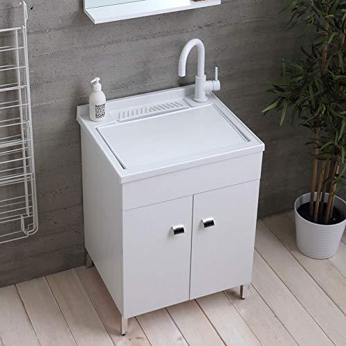 Mobile lavatoio in Legno 60x50 50x50 45x50 cm ASSE lavapanni pilozza Vasca in Resina Lavanderia (60x50 cm, Bianco)