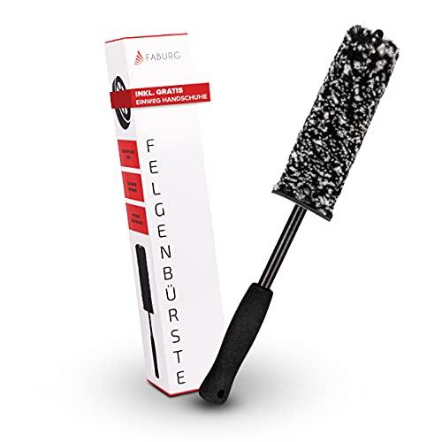 FABURG® Felgenbürste - Mikrofaser Autofelgenbürste mit ergonomischem Griff - Sanfte & schonende Felgen Bürste - Flexible Felgenreinigungsbürste inkl. Gummihandschuh
