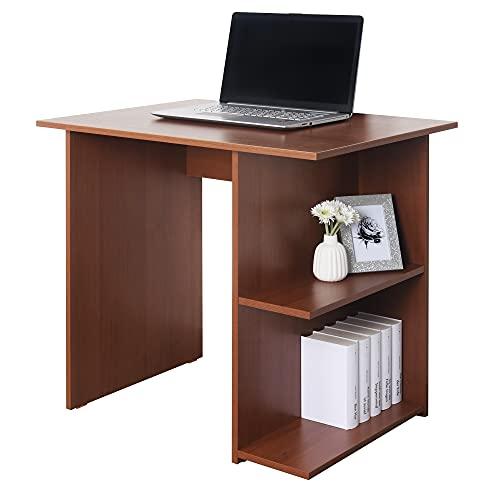 RICOO WM089-ER Escritorio pequeño 82x76x60cm Mesa Ordenador Organizador Oficina Muebles de hogar Buro PC Gaming Secreter Madera Roble marrón rústico