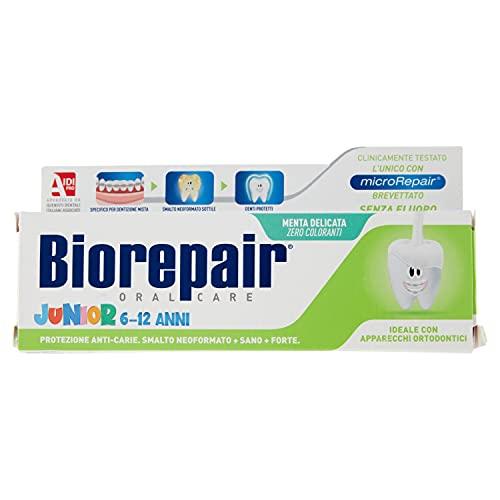 Biorepair, Dentifricio Junior 6-12 anni, Dentifricio per Bambini senza Fluoro, con Vitamina E, Antiossidante, per Gengive Sane, Rinfrescante Gusto Menta, 75 ml