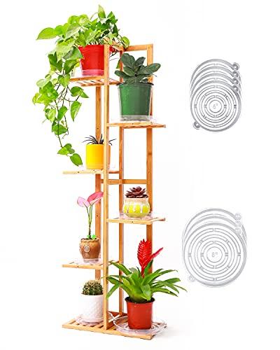 Ohuhu Estantería para Plantas de Bambú, Soporte de Flores de bambú Multicapa Soporte de Maceta Trapezoidal 6 niveles y 7 estantes con 7 platillos para plantas para Interior Jardín al Aire Libre Balcón