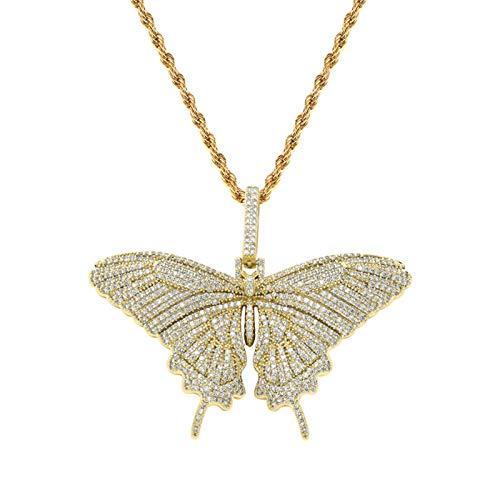 TSDLRH Pink Butterfly Small Pendant Hip Hop Couple Necklace Accessories Sweater Chain