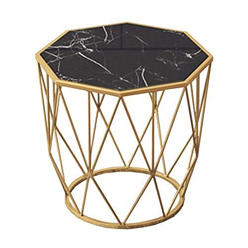 Carl Artbay Home&Selected Furniture/Nordic Marble bijzettafel, woonkamer hoektafel salontafel telefoontafel, slaapkamer nachtkastje, goud metaalhoudend, 17,7 inch x 18,5 inch (kleur: wit)