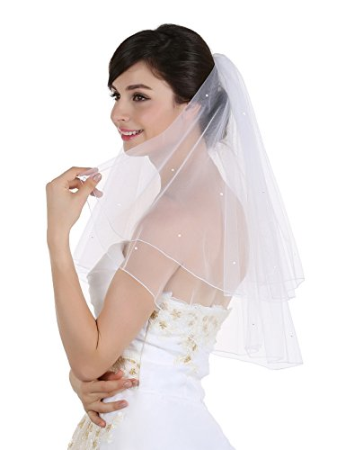 "2T 2 Tier Pencil Edge Center Gathered Rhinestone Crystal Bridal Wedding Veil - White Fingertip Length 36"""