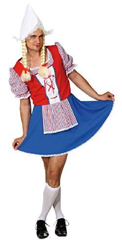 narrenkiste O7321-54-56 bunt Herren Holländerin Holländer Kostüm Trachten Kleid Gr.54-56