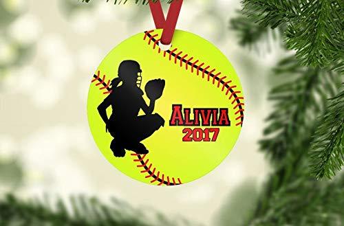 Softball ornament, Catcher ornament, softball Christmas ornament, personalized ornament, softball team gift, softball player gift