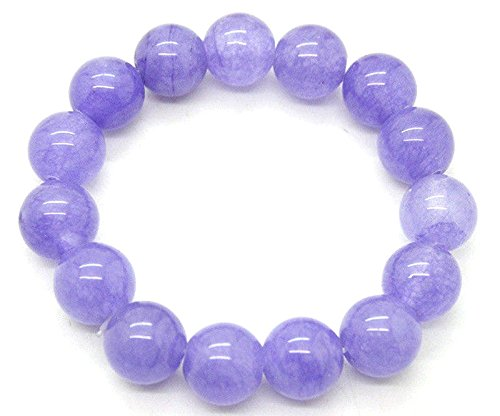 12mm 100% Natural A Grade Lavender Jade Jadeite Round Beaded Bangle Bracelet