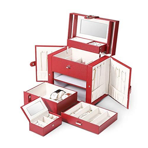TOHOYOK Joyero, Organizador de la joyería con 2 cajones, con Espejo, for los Anillos, Pulseras, Pendientes, Collares, Cajas de almacenaje de la joyería de Viaje portátiles, for Las niñas y