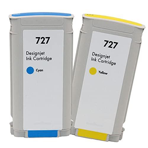 VDFHB Cartucho de Tinta de 2-Pack 727 Plotter, para T920 T1500 T2500 T930 T1530 T2530 Tinta Plotter Pack C