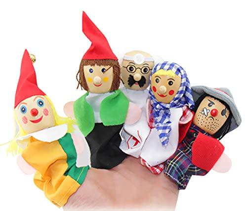 Happy cherry - 6 PCS Conjunto de Títeres de Dedos de Cuentos para Niños Bebés Juguetes Marionetas de Mano de Dibujos Animados Lindas Colorido - Muñecos