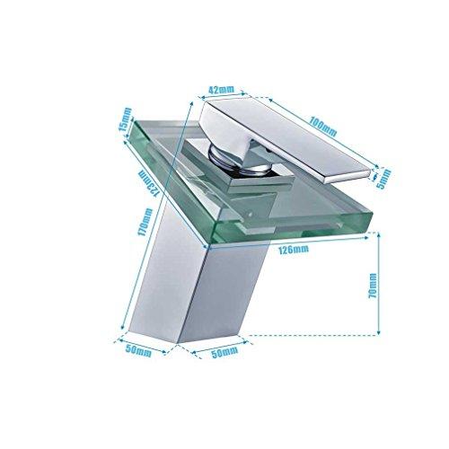 Auralum® Elegant LED RGB Glass Wasserhahn Armatur Chrom Wasserfall Waschtisch Waschtischarmatur für Bad Badezimmer Küchen 3 Farben - 3