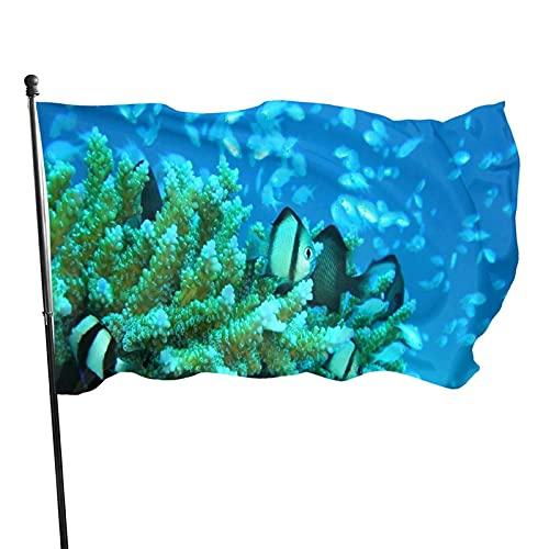 GOSMAO Bandera de jardín Mundo Submarino Color Vivo y Resistente a la decoloración UV Bandera de Patio de Doble Costura Bandera de Temporada Banderas de Pared 150X90cm
