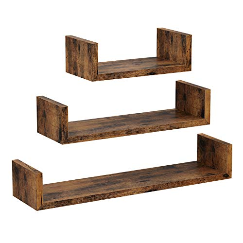 VASAGLE Estante de Pared, Juego de 3, Estante Flotante, Soporte de Pared Estable, Estilo Industrial, Decoración, para Salón, Dormitorio, Oficina, Marrón Rústico LWS36BX