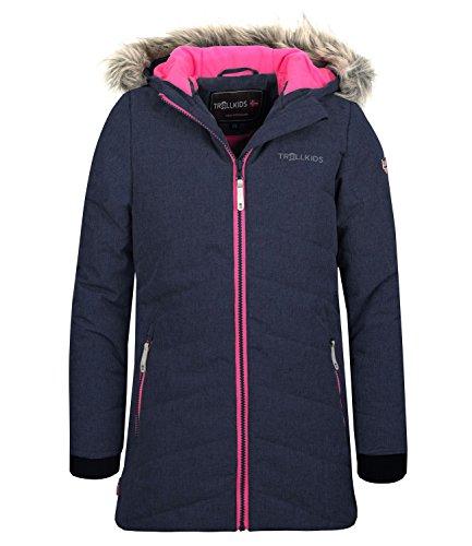 Trollkids Mädchen Lifjell Wasserabweisende Winddichte Ski Jacke Winterjacke, Marineblau/Vipergrün, Größe 152