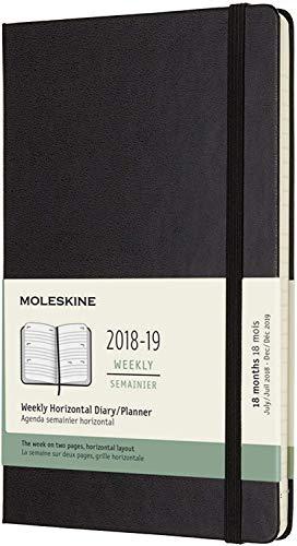 Moleskine 2018-2019, Agenda Settimanale 18 Mesi, Large, Orizzontale, Copertina Rigida, Nero