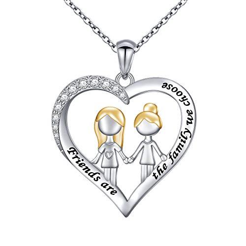 DAOCHONG S925 Sterling Silver Best Friend Friendship BFF Heart Jewelry Pendant Necklace