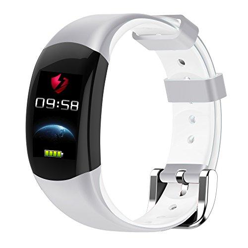 LEMFO LT02 - Pulsera elegante color LCD Pulsera de fitness, Pulsómetros  Fitness pulsera IP68 Impermeable Podómetro Smart Band Bluetooth - Blanco
