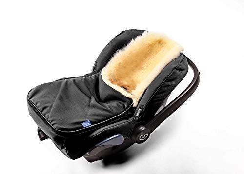 Fußsack für Babyschale Hofbrucker - kuscheliger universal Lammfellfußsack, medizinisches echtes Fell, für Tragetasche, Kinderwagen und Buggy geeignet, Design:schwarz'