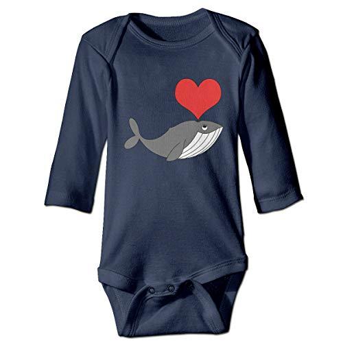 Cuteove Bébé Barboteuse bébé à Manches Longues Love Whales Girls Boy(6M,Marine)