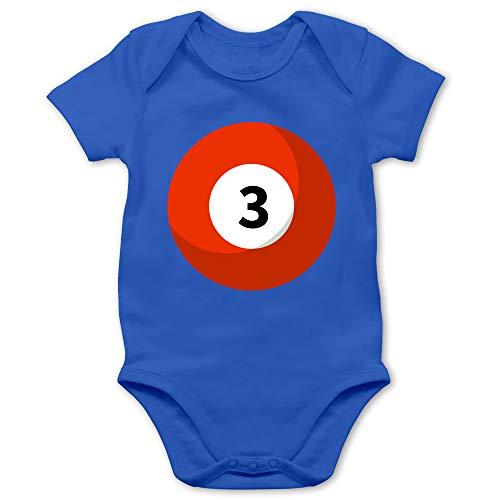 Shirtracer Karneval und Fasching Baby - Billardkugel 3 Kostüm - 3/6 Monate - Royalblau - Verkleidung Kostüm - BZ10 - Baby Body Kurzarm für Jungen und Mädchen