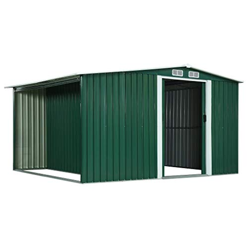 Irfora Large Garden Shed Outdoor Storage Shed with Sliding Doors Storage Bike Shed Green 329.5x259x178 cm Steel