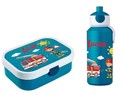 Mein Zwergenland Brotdose Mepal Campus inkl. Bento Box und Gabel + Campus Pop-up Trinkflasche mit Namen Blau, Feuerwehr