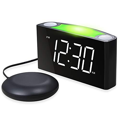 Mesqool Loud Alarm Clock Bed Shaker, Powerful Vibrating for Heavy Sleepers, Deaf, Hearing-Impaired, Kid Bedroom, 7-Color Nightlight, Large Digital Display, Full Range Dimmer, 12/24, 2 USB Port Charger