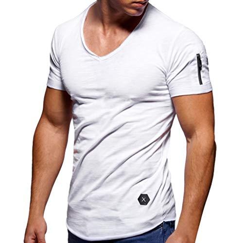 Xmiral Tee, T-Shirt Uomo Maglietta Manica Casual Tee Shirt Camicetta Bodybuilding Palestra Maglia Lo Sport a Maniche Corte Ideale per Workout e Allenamento Top XXXXL Bianca