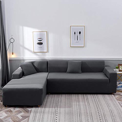 Sofa Überwürfe Sofabezug Elastische Stretch,L-förmiger Eckschnitt Sofasesselbezug, Wohnzimmermöbelschutz Sessel Sofabezug-grau_4-Sitzer 235-300cm