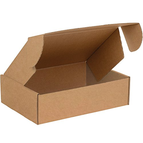 Boxes Fast BFMFL1294K Deluxe Literature Cardboard Mailers, 12 1/8 x 9 1/4 x 4 Inches, Corrugated Die-Cut Shipping Boxes, Large Brown Kraft Mailing Boxes (Pack of 50)