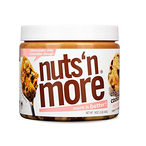 Nuts 'N More Chocolate Chip Cookie Dough Peanut Butter Spread, All Natural High Protein Nut Butter Healthy Snack, Omega 3's and Antioxidants, Low Carb, Low Sugar, Gluten Free, Non-GMO, 16 oz Jar
