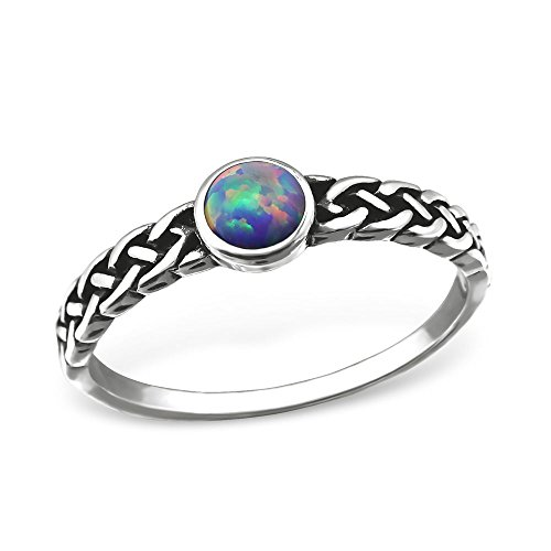 Gemaholique Sterling Silver Lavender Fire Opal Celtic Knot Infinity Ring (6)