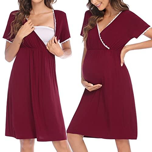 HOTLOOX Camisón Lactancia Algodón Mujer Ropa de Dormir Premamá Hospital Vestido de Maternidad Embarazo, Vino Tinto S