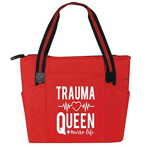 Trauma Queen Red - Large Nursing Basic Tote Bags for Nurses - Perfect for Work, Gifts for CNA, RN,...