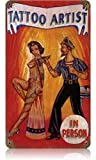 ABLERTRADE DHArt Rustic Metal Tin Sign Retro Tattoo Artist - Pin-Up Girl Metal Sign Vintage Wall Pla...
