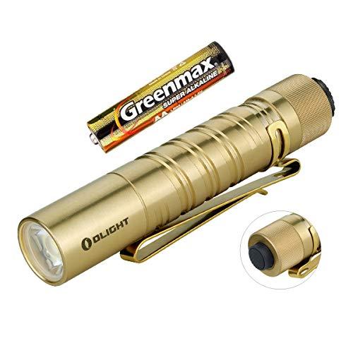 Olight I5T EOS Mini Taschenlampe 300 Lumen / 60 Meter Kühle weiße LED Heckschalter Klein EDC-Taschenlampe, mit AA Batterie und Batteriefach (Messing)