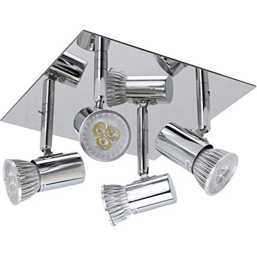 Luz de techo LED giratable, luces cuadradas ajustables de 4 vías, Ø20 × 20 × 11 cm iluminación de foco de níquel mate, iluminación para cocina, sala de estar