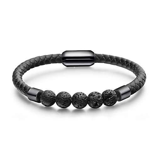Flongo Lederarmband Energiearmband Lava Herren Echtleder Leder-Armband Damen Armreif Mala Lava-Stein Kugel Pernlen Armkette mit Magnetverschluss Schwarz für Männer Frauen