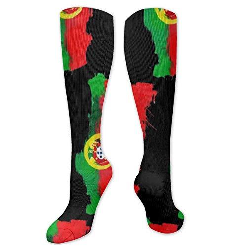 Compressiesokken voor mannen en vrouwen - Beste voor hardlopen, atletische sporten, spataderen, Travel-Portugal Map Portugese vlag
