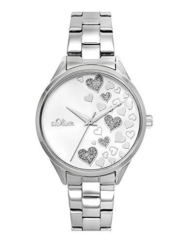 s.Oliver Time Damen Analog Quarz Uhr mit Edelstahl Armband SO-3599-MQ, silber Herzen