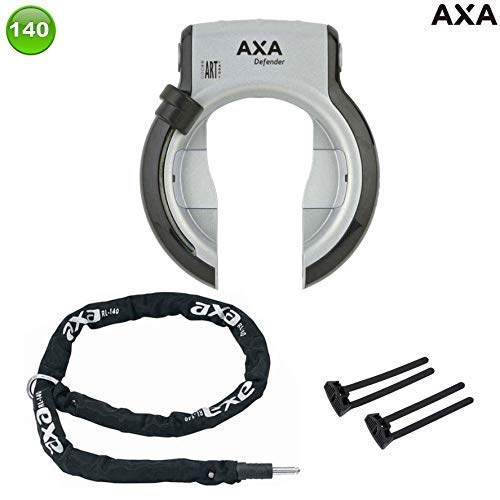 AXA Defender Art frameslot met Axa ketting RLC140 + Axa-Flex, achterbouw, zilver