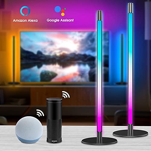 Alexa RGB Lightbar(2er Pack), Led TV Hintergrundbeleuchtung, Dimmbar 16 Mio. Farben Nachttischlampe Leselampe Bett/Schlafzimmer/Wohnzimmer, Gaming Lampe Sync mit Musik, Kompatibel mit Alexa & Google